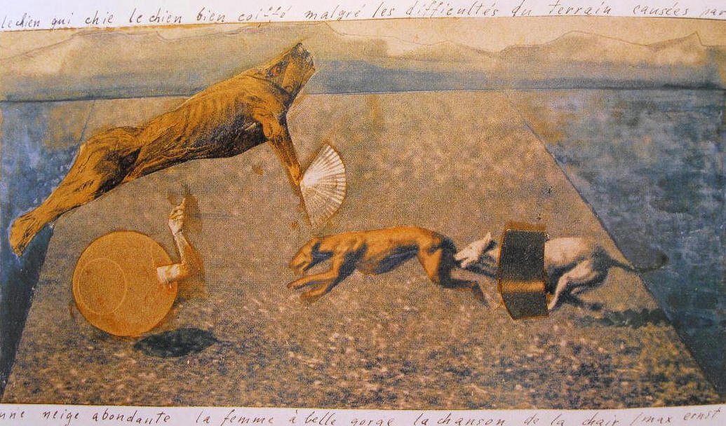Max Ernst, le chien qui chie...la chanson de la chair (The Dog Who Shits...The Song of the Flesh), c. 1920. Photomontage, gouache, and pencil on photographic reproduction mounted on board with ink inscription, 15 x 21 cm (5 7/8 x 8 1/4).